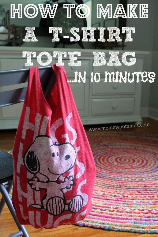 DIY Ideas With Old T-shirts - No Sew T-Shirt Tote Bag In 10 Minutes - Tshirt Makeovers and Transformation Ideas for Tee Shirts - DIY Clothes to Make On A Budgert - Creative and Easy Fashion Ideas for Teen Girls, Teenagers, Adults - Cut and Refashion Your Shirts With These Step by Step Tutorials #teencrafts #tshirtideas #diyclothes #fashion #crafts
