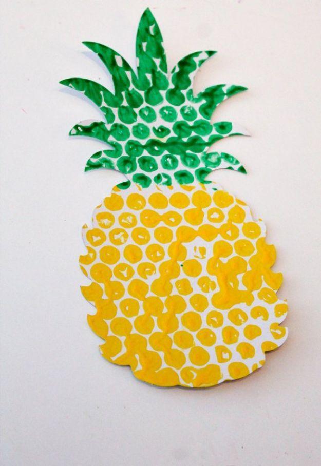 Ananas ambachten - Bubble Wrap bedrukte ananas - leuke ambachtelijke projecten die coole DIY geschenken maken - Wall Decor, slaapkamer Art, sieraden idee