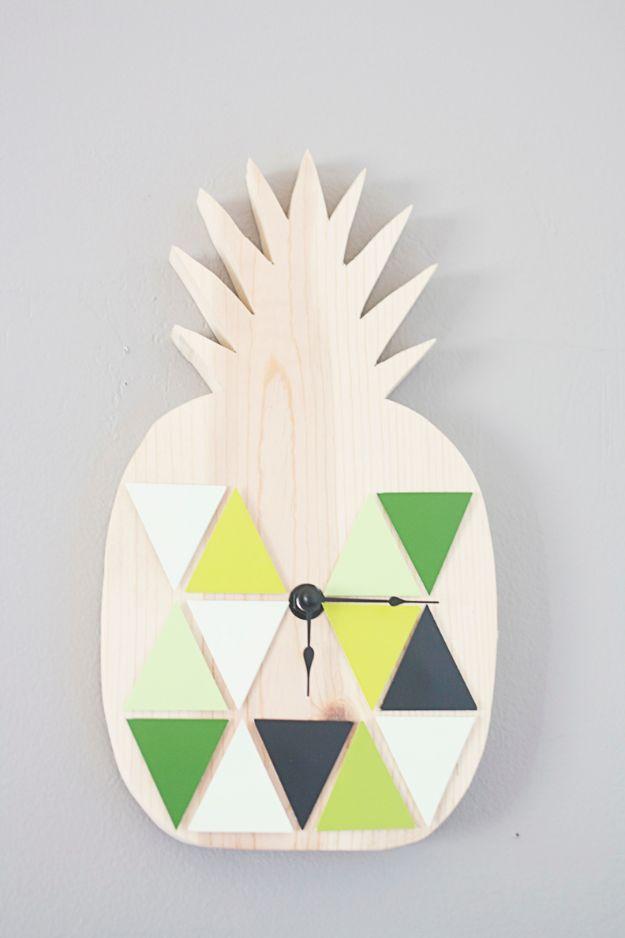 Ananasambachten - DIY geometrische ananasklok - Leuke ambachtelijke projecten die coole DIY-geschenken maken - wanddecor, slaapkamerkunst, sieradenidee