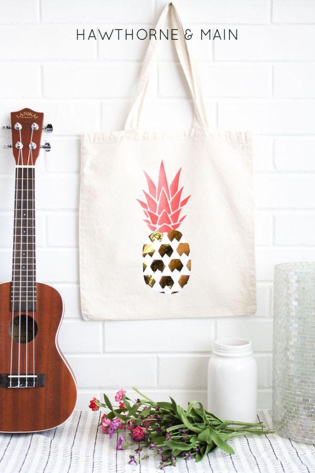 Ananas ambachten - DIY ananas tas - leuke ambachtelijke projecten die coole DIY geschenken maken - Wall Decor, slaapkamer Art, sieraden idee