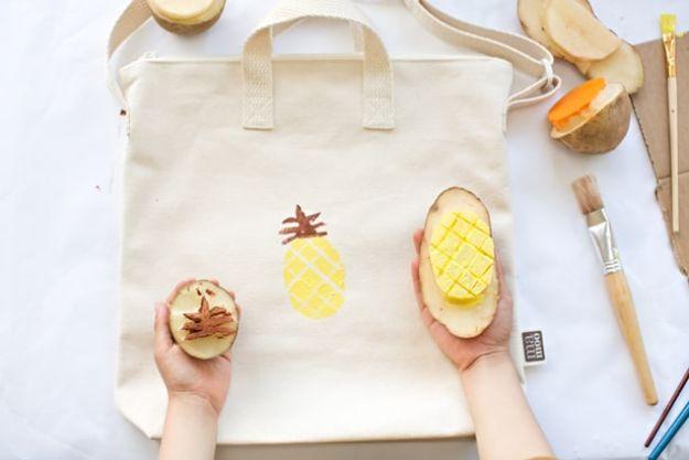 Ananas ambachten - Aardappel gestempeld fruit tas - leuke ambachtelijke projecten die coole DIY geschenken maken - Wall Decor, slaapkamer Art, sieraden idee