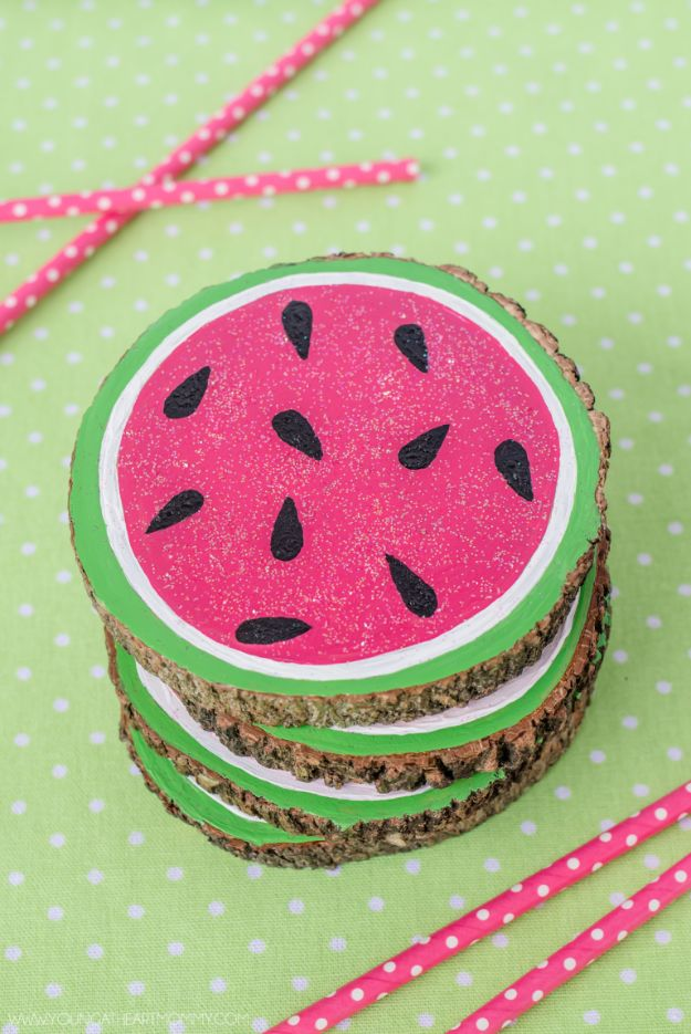 Watermelon Crafts - Houten watermeloen onderzetters - Eenvoudige doe-het-zelf ideeën met watermeloenen - Leuke knutselprojecten die coole doe-het-zelf geschenken maken - Wanddecor, Slaapkamerkunst, Sieradenidee