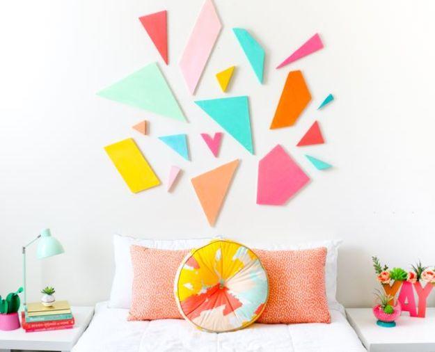 DIY Wall Art Ideas for Teens - Kleurrijk Geometrisch Hoofdeinde - Teen Boy en Girl Bedroom Wall Decor Ideas - Goedkope Canvas Schilderijen en Wandkleden voor Kamerdecoratie