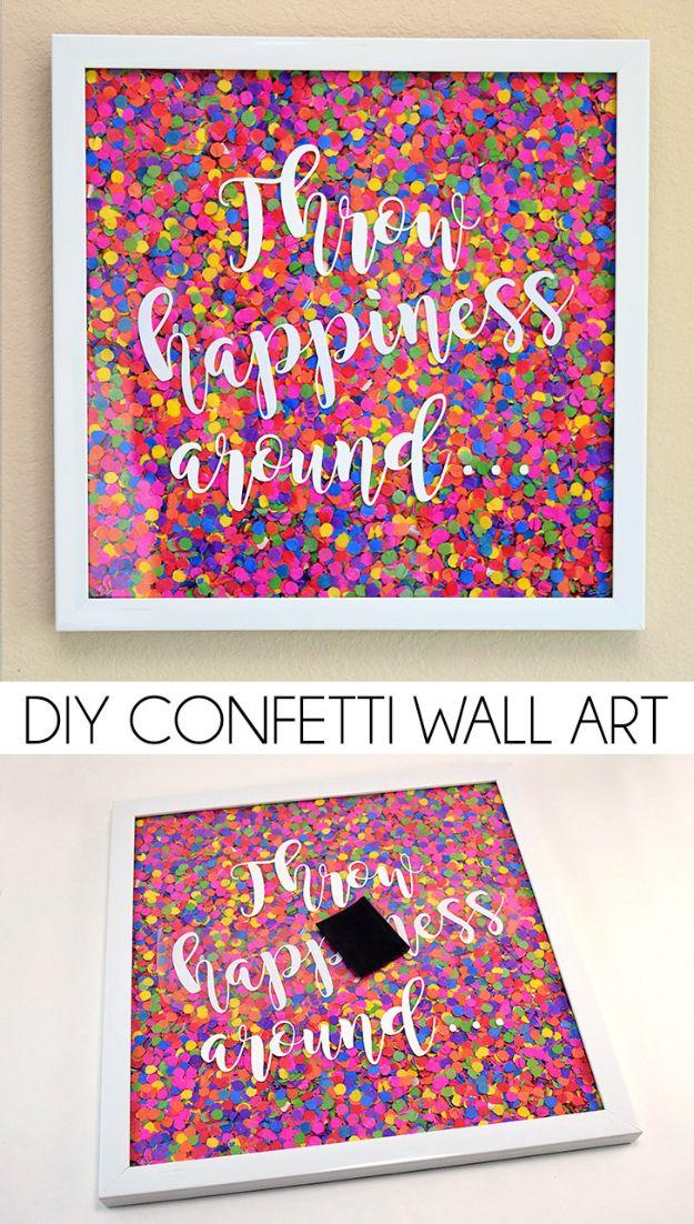 Eenvoudig DIY Wall Art-idee voor tieners | Creatieve DIY Confetti Wall Art-zelfstudie | Slaapkamer decorideeën voor tieners muren
