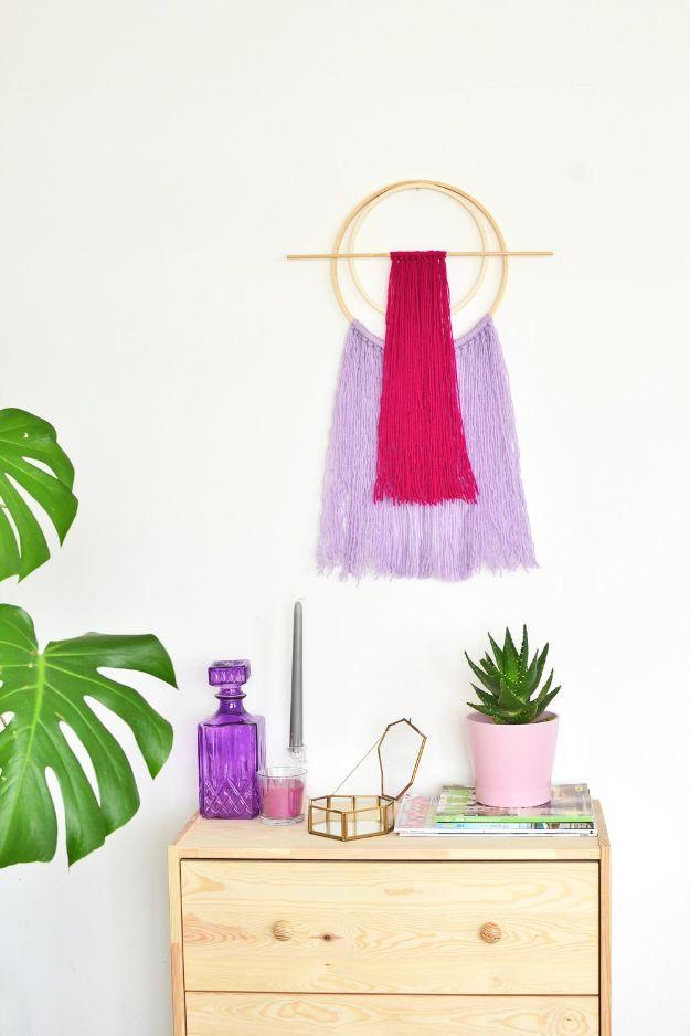 DIY Wall Art Ideas for Teens - DIY Embroidery Hoop Yarn Wall Hanging - Teen Boy and Girl Bedroom Wall Decor Ideas - Goedkope canvas schilderijen en wandkleden voor kamerdecoratie