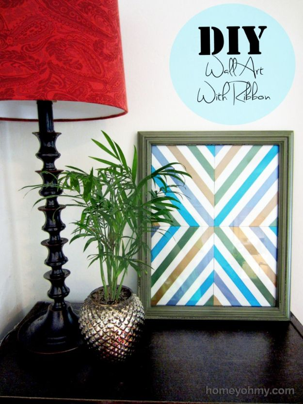 DIY Wall Art Ideas for Teens - DIY Wall Art With Ribbon - Teen Boy and Girl Bedroom Wall Decor Ideas - Goedkope canvas schilderijen en wandkleden voor kamerdecoratie