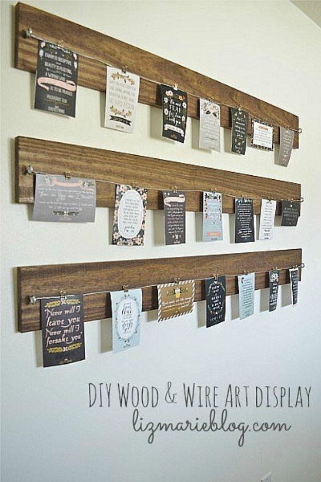 DIY Wall Art Ideas for Teens - DIY Wood and Wire Art Display - Teen Boy and Girl Bedroom Wall Decor Ideas - Goedkope canvasschilderijen en wandkleden voor kamerdecoratie