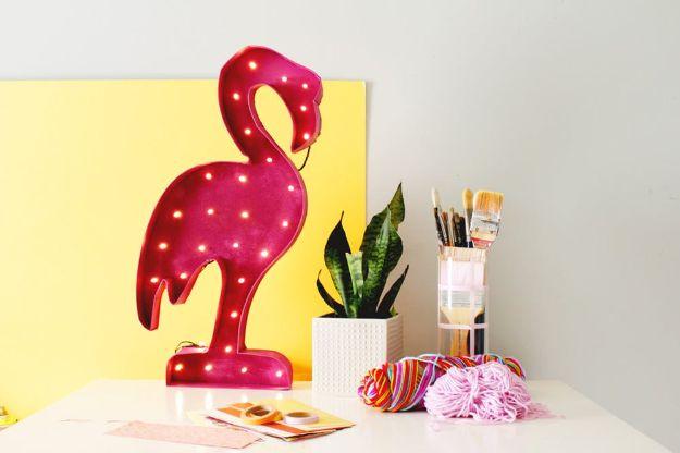 DIY Wall Art Ideas for Teens - Flamingo Marquee Light - Teen Boy and Girl Bedroom Wall Decor Ideas - Goedkope canvas schilderijen en wandkleden voor kamerdecoratie