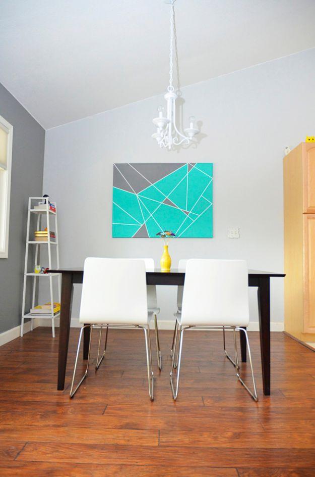 DIY Wall Art Ideas for Teens - Tape Masking on Canvas - Teen Boy and Girl Bedroom Wall Decor Ideas - Goedkope canvas schilderijen en wandkleden voor kamerdecoratie