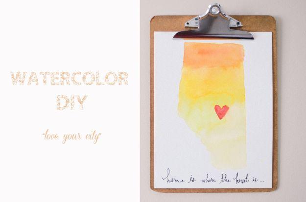 DIY Wall Art Ideas for Teens - Watercolor DIY Wall Art - Teen Boy and Girl Bedroom Wall Decor Ideas - Goedkope canvas schilderijen en wandkleden voor kamerdecoratie