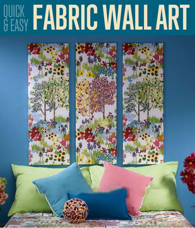 How to Make DIY Fabric Wall Art Tutorial |diyready.com/quick-easy-fabric-wall-art/