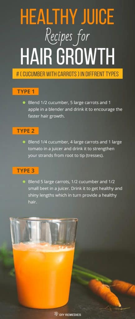 Cucumber with Carrots Healthy Juice Recipes for Hair Growth