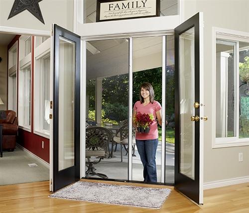 Custom Double Panel Retractable Screen Door, Roller Screens For Patio Doors