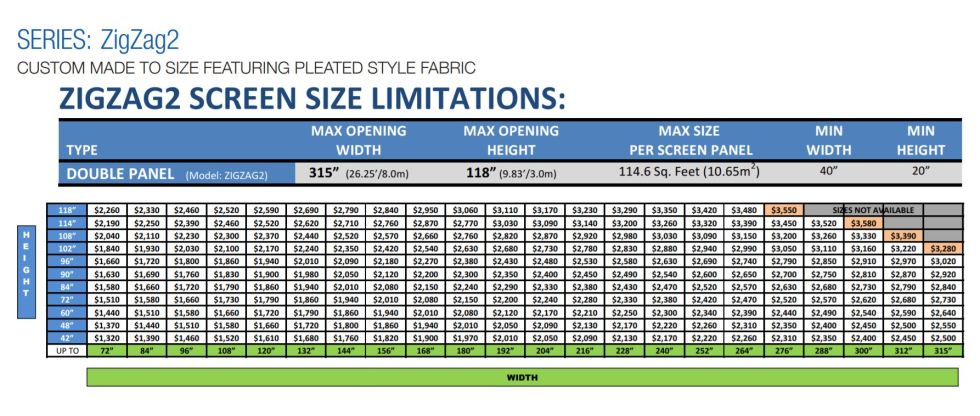 Pleated Custom Screen for Large Openings Pricing