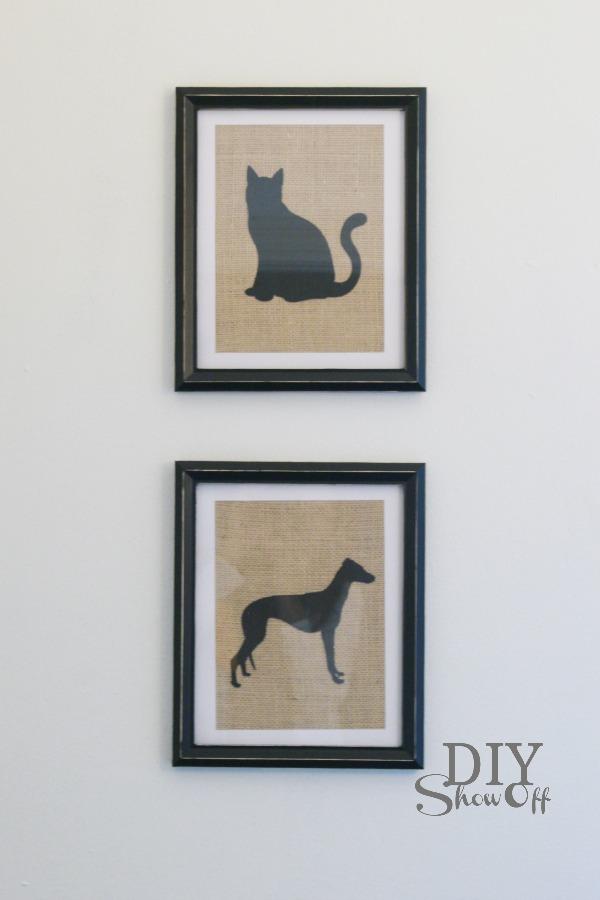 framed burlap adhesive cardstock pet silhouette tutorial
