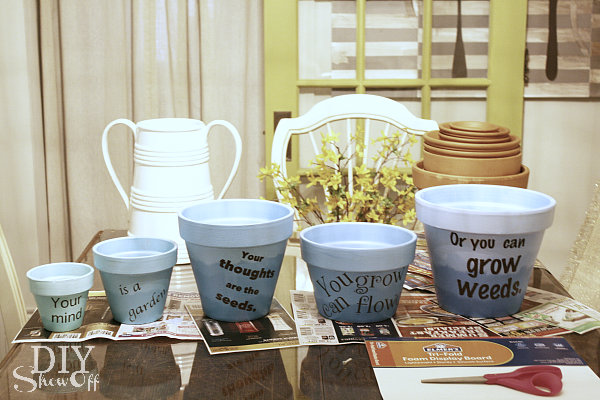 painting and stenciling terra cotta pots