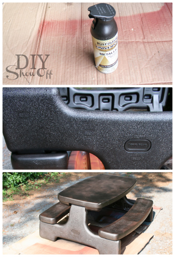 painting plastic picnic table tutorial