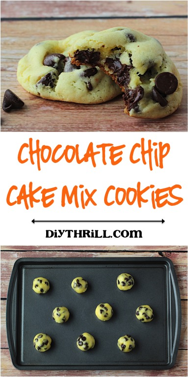 Chocolate Chip Cake Mix Cookies - Recipe at DIYThrill.com