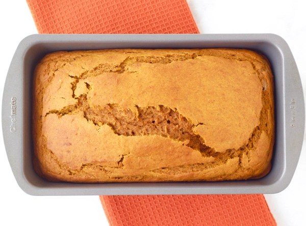 Adding Canned Pumpkin to Pumpkin Bread Mix