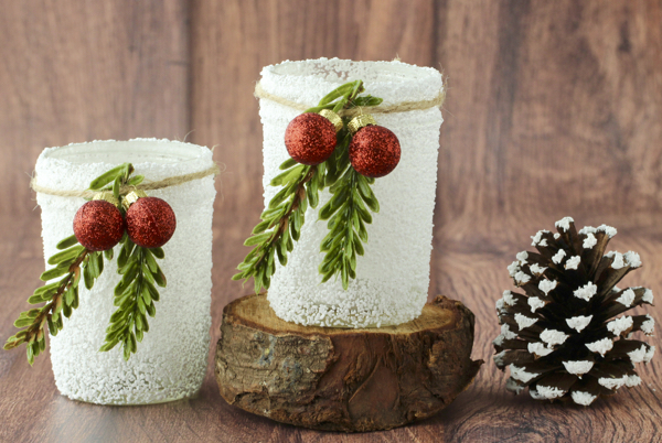 Snowy Mason Jar Candles