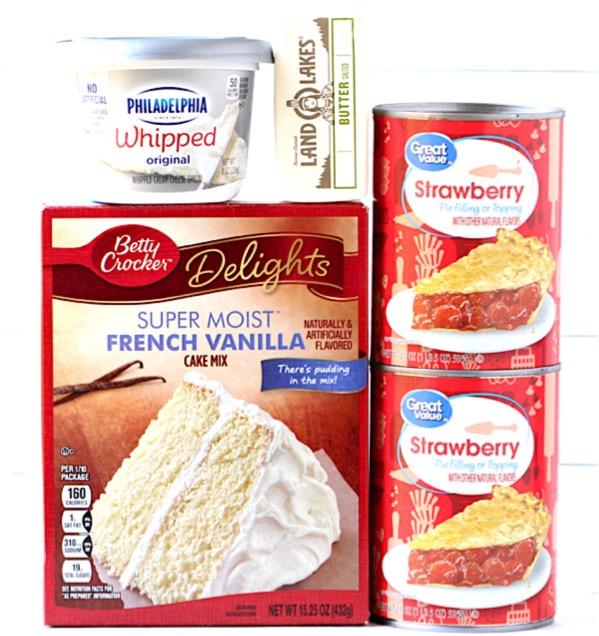 Crockpot Strawberry Cream Cheese Dump Cake