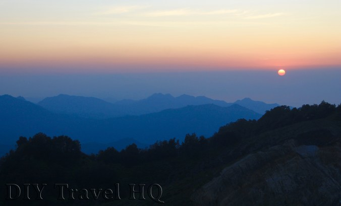 The beautiful sunrise over Mt Kelimutu