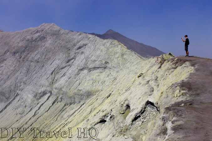 Walk along the edge of Mount Bromo crater