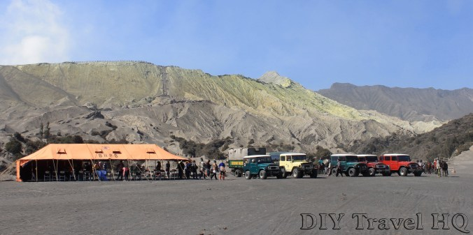 Jeeps in Sea of Sand Mount Bromo