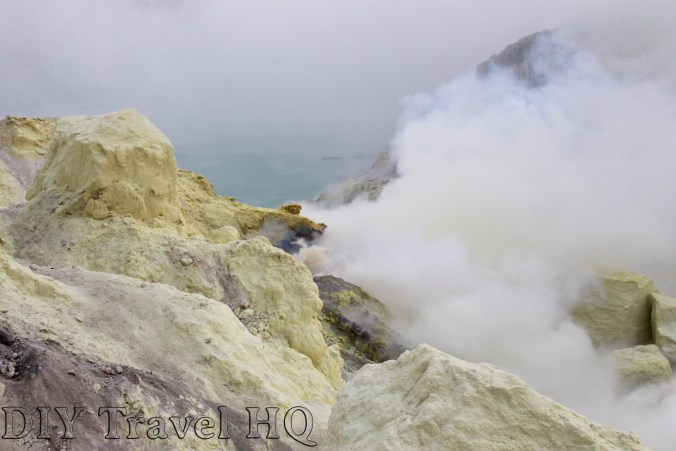 Sulphuric gas from the crater of Mt Ijen