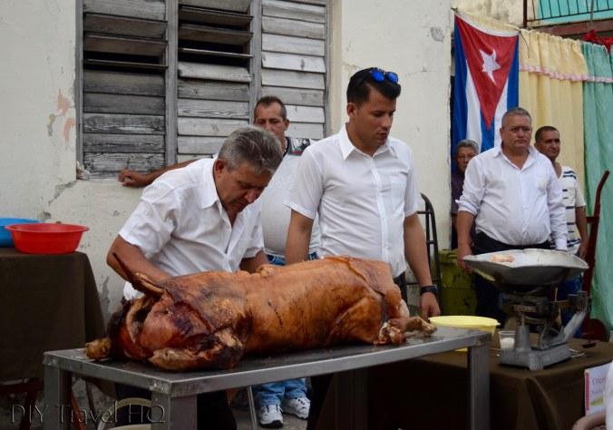 Roast pig carving Las Tunas party