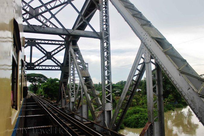Bridge crossing on train