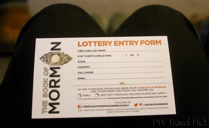 Book of Mormon lottery card