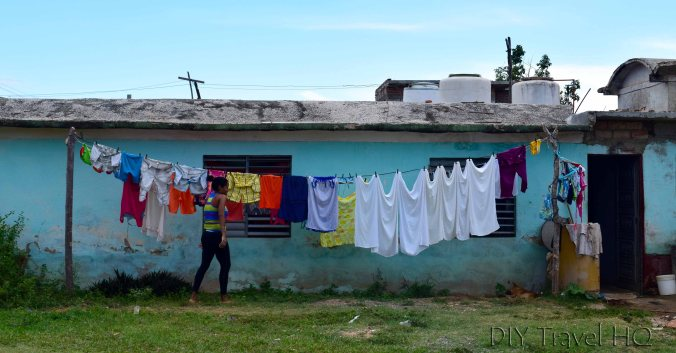 Hanging laundry in Havana