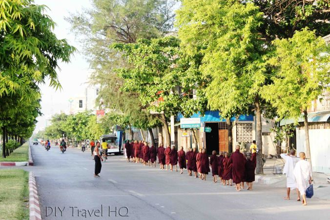 Monks alms collection in Mandalay