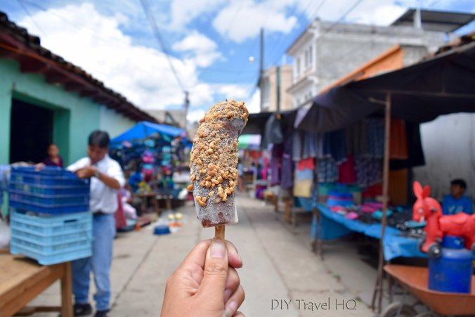 Momostenango Market Chocolate Coated Frozen Banana Dipped in Peanuts
