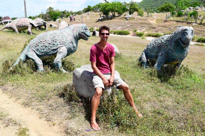 DIY Travel HQ sitting on dinosaurs!