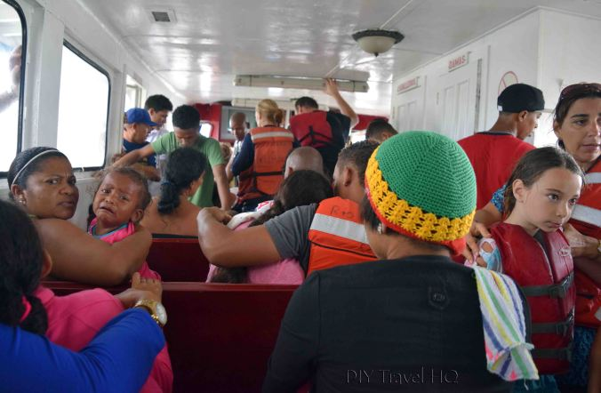 Bluefields to Big Corn Island Ferry with Passengers Inside Cabin