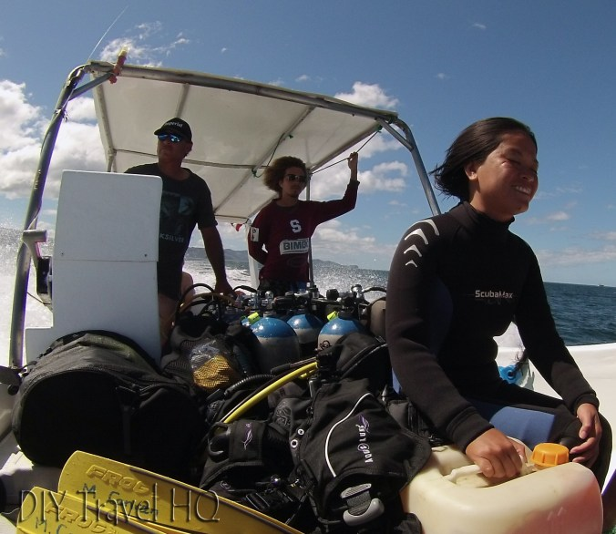 Sheena Holding on During Sirenas Diving Fast Boat Ride to Dive Site