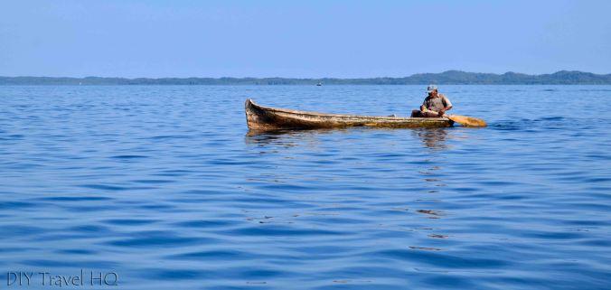 San Blas Islands Kuna in a Canoe