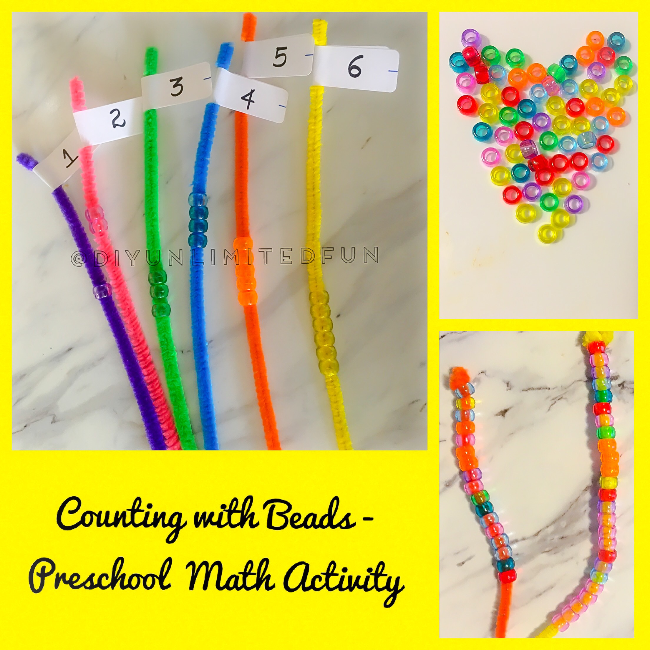Counting With Beads Preschool Math Activity Simple