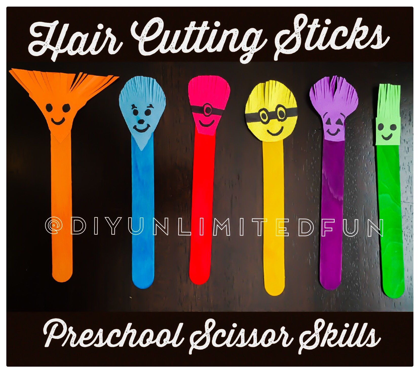 Hair Cutting Sticks Preschool Scissor Skills Simple Diys Kids Activities