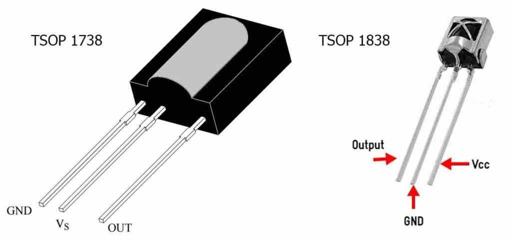 Pinout diagram of tsop 1738 and tsop 1838