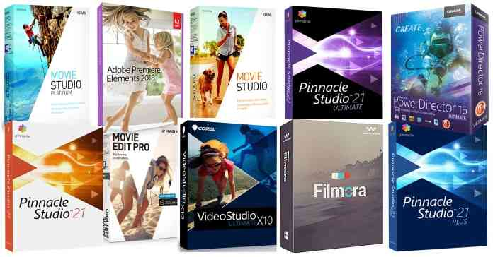 Collage of the best video editing software box images.