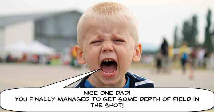Humorous image of a boy yelling at father about depth of field in video.
