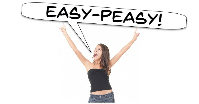 "An attractive young woman speaking the words ""Easy-Peasy' as a reference to the subject of the page being easy video editing software programs."