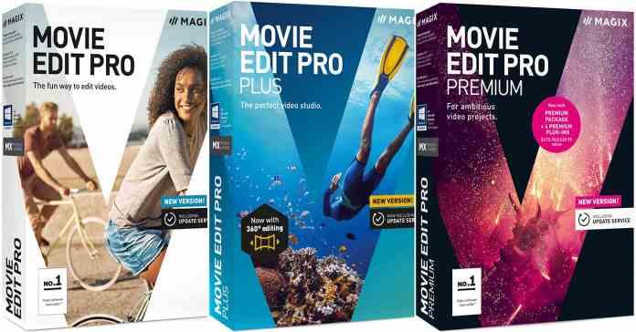 Box shot image of the Magix Movie Edit Pro product range.