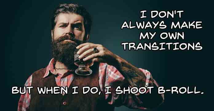 Humorous image of trendy man who shoots b-roll footage for transitions.