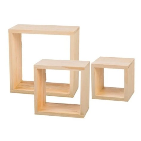 Pine Wood Cube Frames Small 5 X 5 X 4 12 Inches Diyvinci