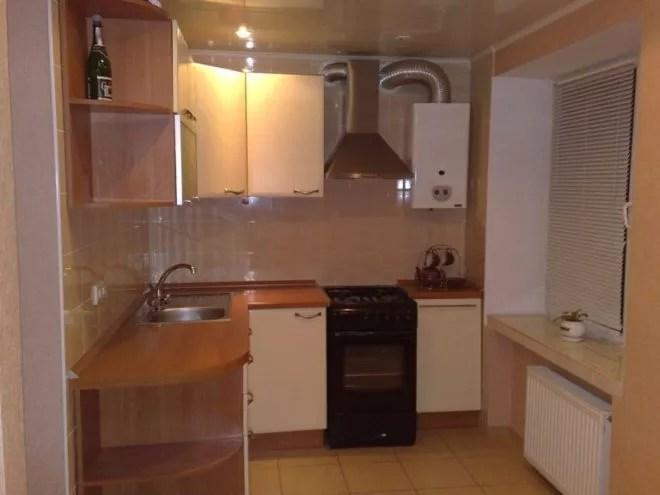 кухни с колонкой в хрущевке фото дизайн малогабаритные 6 квм 6
