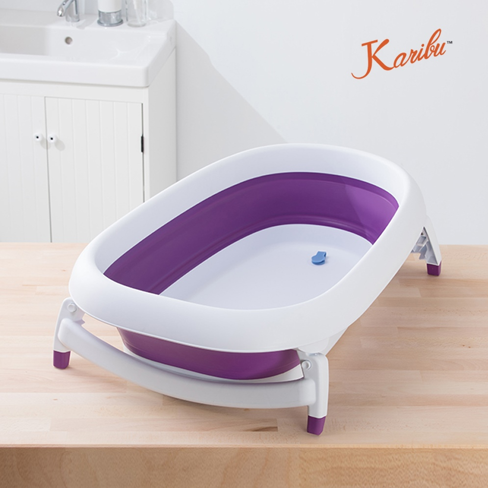 Karibu Mega 抗霉耐用嬰幼兒防滑浴盆(贈浴網+躺椅) -夢幻紫 F-PM3799-W1-FF - 小丁婦幼嬰兒用品專門店
